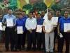 Algunos de los 15 alcaldes electos de Pando rodean al gobernador reelegido Luis Adolfo Flores Roberts.| Foto GADP