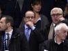 El presidente francés François Hollande, junto al ministro de Exteriores alemán, Frank-Walter Steinmeier, en el Estadio Francia, presas del estupor. | Foto AFP