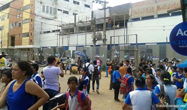 Predios del Colegio Antonio Vaca Diez donde se produjo la masiva intoxicación.
