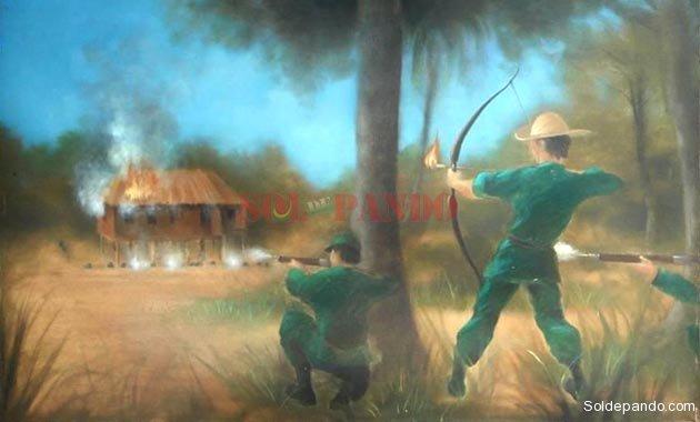 El artista plástico brasileño Jorge Rivasplata pintó este cuadro que muestra a Bruno Racua decidiendo con su arco y su flecha la Batalla de Bahía, salvando para Bolivia este territorio que hoy es la ciudad amazónica de Cobija.