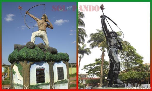 Monumentos a Bruno Racua en el ingreso al municipio de Porvenir y en la central Plaza Potosí de Cobija.