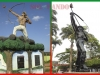 Monumentos a Bruno Racua en el ingreso al municipio de Porvenir en la central Plaza Potosí de Cobija.