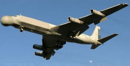 """El avión radar """"Cóndor"""", un boeing reacondicionado para cumplir tareas de espionaje y control en la frontra de Chile con Bolivia y Perú."""