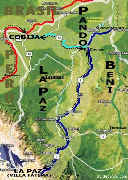 La ruta marcada con azul, que parte de la zona de Villa Fátima en La Paz y concluye en Guayaramerín, Beni, es el único camino posible para llegar a Pando por vía terrestre. La ruta marcada con celeste es la precaria conexión caminera que conduce desde El Chorro, Beni, hasta Cobija, Pando. La ruta marcada con rojo es la carretera bioceánica que parte de la región de Cuzo hasta Iñaparí, Perú, en la triple frontera del Acre con Bolivia (Bolpebra, Pando) y Brasil (Brasiléia, Río Branco).