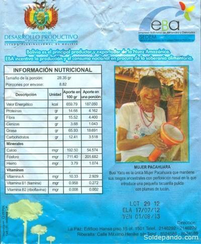 El gobierno utiliza la imagen de Bosé Yacu como un recurso de marketing para promocionar productos de castaña industrializada.