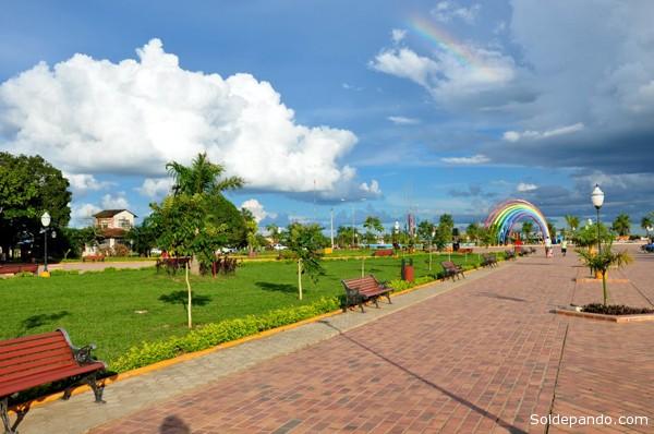 El Parque Piñata, wel principal paseo recreacional de Cobija, donde se realiza este viernes la Feria de Cultura Tributaria.