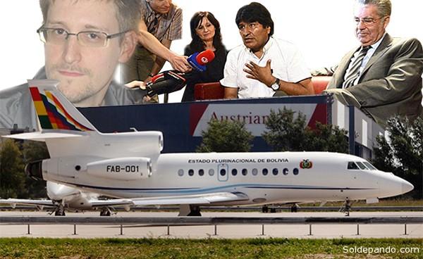 """""""No ha habido ninguna explicación de por qué motivos no me dejaron pasar por territorio de Francia, Portugal, Italia y después también de España"""", reclamó Morales en Viena, donde se constató que Snowden no estaba en el avión presidencial.   Fotomontaje Sol de Pando"""