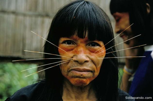 Muchos de los indígenas matsés de la zona creen que los indígenas aislados están emparentados con su tribu. Ellos rechazan rotundamente las operaciones de Pacific Rubiales en la reserva propuesta.   Foto ©Christopher Pillitz
