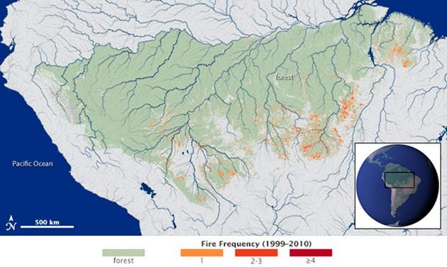El mapa satelital de la NASA sobre los focos de calor que activan incendios en distintos puntos del continente amazónico.