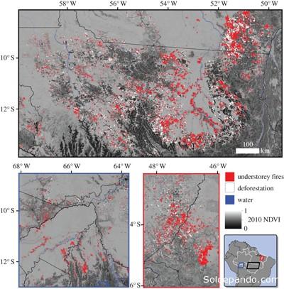INCENDIOS FORESTALES DURANTE UNA DÉCADA  Mapa de la deforestación y los incendios forestales del sotobosque durante 2001-2010 en tres regiones fronterizas del sur de la Amazonia, que incluye a Bolivia.  El acceso humano, ya sea por carretera o río, es un factor importante para la distribución de los incendios del sotobosque en esta región. La deforestación puede ser una de las variadas fuentes de combustible para provocar incendios de los bosques bajo los árboles.  | Foto Observatorio de la Tierra de la NASA.