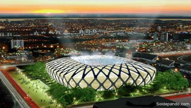 El Arena Amazonia, obra construida en un 90%, tendrá 42.377 localidades, restaurantes, aparcamiento subterráneo y un acceso por medio de carril bus y monorraíl. Albergará cuatro partidos de la primera fase de la Copa Mundial de la FIFA 2014.
