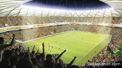 Así se verá el interior del estadio mundialista en la principal ciudad amazónica del Brasil.