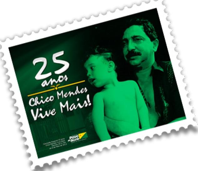 Sello postal conmemorativo por los 25 años de la muerte de Chico Mendes, emitido por el Estado de Acre, en la Amazonia brasileña.
