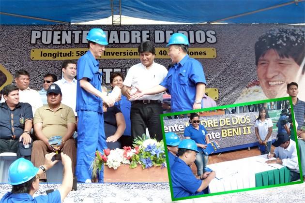 El presidente Morales celebra el contrato suscrito con los ejecutivos de la empresa china Harzone Industri Corporation. En recuadro, el presidente de la ABC y los empresarios chinos firmando el contrato.   Fotos Alex Castedo.