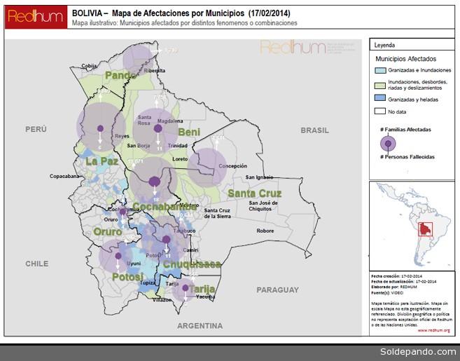 En este mapa se muestran los municipios y sus distintas afectaciones como lo son Inundaciones, Granizadas, Deslizamientos y Heladas, marcando también las cantidades de familias afectadas y los fallecidos.