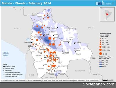 Este otro mapa de RedHum focaliza la intensidad de las inundaciones según la cantidad de familias damnificadas. En los departamentos de Beni, Cochabamba y Chuquisaca se concentran las poblaciones afectadas con más de 2.000 familias evacuadas, frente a inundaciones menores con menos de 100 familias movilizadas por la crisis.