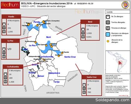 Mapa que muestra las informaciones suministradas por la Unidad de Preparación y Coordinación de RedHum, indicando las posiciones de los albergues y las cantidades de personal en ellos.