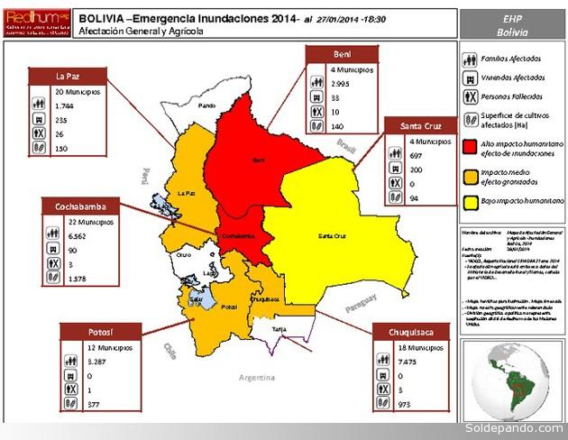 El mapa elaborado por la Red de Información Humanitaria para América Latina y el Caribe (RedHum), refleja la información oficial del Videci en los departamentos más afectados por la época de lluvias, desde octubre de 2013 hasta el 27 de enero de 2014.  Posteriormente a su publicación se registró la Alerta Naranja en Pando.