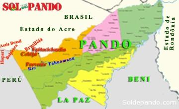 Ubicación de los municipios de Cobija, Epitaciolandia y Porvenir en la mancomunidad bi-nacional del Acre.