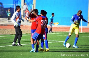 El primer gol de la U de Pando ante E.Minera Huanuni, el sábado. | Foto La Patria