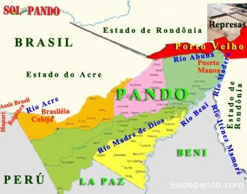 EL MEGA-MUNICIPIO DE PORTO VELHO Porto Velho es uno de los municipios más grandes del Brasil y de Sudamérica. Fue fundado en 1907 por la empresa anglo-americana Madeira Mamoré Railway Company que construyó el ferrocarril destinado a la exportación de goma hacia los puertos del Atlántico. Desde 1943 es la capital del Estado de Rondônia, que surgió como un desprendimiento territorial del Estado de Amazonas. Limita al norte con los municipios de Lábrea, Canutama y Humaitá del Estado de Amazonas, al este con Machadinho, Cojubim, Itapuá y Candeiras do Jamari de Rondonia, al oeste con el municipio de Acrelandia del Estado do Acre, y al sur con Alto Paraíso, Buritis y Nova Mamoré del mismo Estado de Rondonia y con el departamento boliviano de Pando. Tiene una población de 484.992 habitantes que ocupan un territorio de 34.000 kilómetros cuadrados que hacen de Porto Velho el municipio más extenso del Brasil e incuso de Sudamérica. Está constituido por 12 Distritos municipales que son los siguientes: Abuná (1.648 habitantes), Calama (2.782 habitantes), Demarcação (548 habitantes), Extrema (2.956 habitantes), Fortaleza do Abuná (450 habitantes), Jaci-Paraná (13.131 habitantes), Mutum-Paraná (6.575 habitantes), Nazaré (626 habitantes), Nova Califórnia (3.631 habitantes), São Carlos (2.000 habitantes), Vista Alegre do Abuná (4.125 habitantes), y Sede (la capital urbana con 386.834 habitantes). El municipio de Porto Velho está ubicado al sur del rio Amazonas donde desemboca el río Madeira que trae sus aguas desde los Andes de Bolivia y recorre por el centro de la ciudad capital, de un modo similar al río Rocha en Cochabamba. Los afluentes del Madera dentro el extenso municipio son los ríos Abuná (que marca la frontera con Bolivia naciendo del río Acre), Mutum Paraná, Jacy-Paraná, Candeias do Jamari y Ji-Paraná. Todos estos ríos colapsaron cuando sus aguas refluyeron y presionaron sobre las subcuencas que atraviesan el territorio boliviano, por efecto de las represas de San Antoni