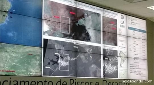 Imagens de satélites analisadas pelo INPE na sala de monitoramento do CENAD, em Brasília.