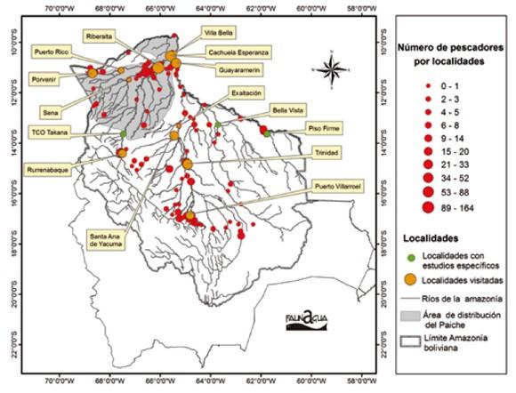 Zonas pesqueras activas de producción del paiche en las subcuencas amazónicas de Bolivia.