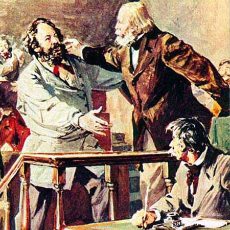 Uno de los encuentros entre Bakunin y Garibaldii, en 1867, durante la Primera Internacional Marxista, en Génova.