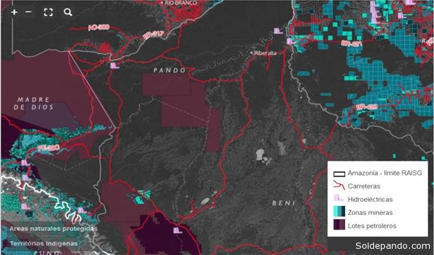 Límite de la Amazonía establecido por la Red Amazónica de Información Sociambiental Georeferenciada (RAISG) en 2009 y que fusiona los criterios biogeográficos y políticos de los 9 países de América del Sur.