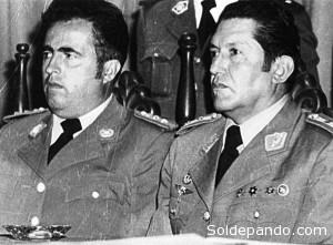 Luiís Arce Gómez y Luís García Meza, los golpistas que provocaron con su acción autoritaria la muerte de Quiroga Santa Cruz y otros martires de la democracia. | Foto Archivo.