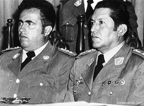 Luiís Arce Gómez y Luís García Meza, los golpistas que provocaron con su acción autoritaria la muerte de Quiroga Santa Cruz y otros martires de la democracia.   Foto Archivo.