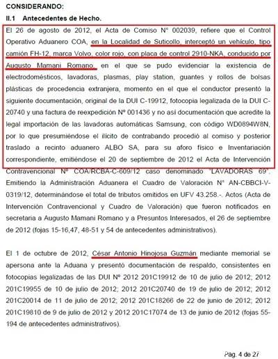 En agosto del 2012 Mamani Romano volvió a ser detenido por el Control de la Aduana llegando de Chile, esta vez en Cochabamba, a bordo de un Volvo rojo con una cuantiosa carga ilícita de electrodomésticos detallados en un nuevo expediente aduanero.