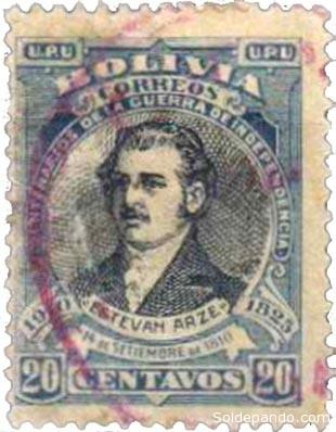 Sello Postal emitido por Correos de Bolivia el 14 de septiembre de 1910, Primer Centenario de la Revolución cochabambina, en homenaje a Esteban Arze.