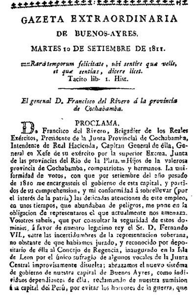 """Una de las proclamas revolucionarias de Francisco del Rivero, publicada el 10 de septiembre de 1811 por la """"Gazeta de Buenos-Ayres""""."""