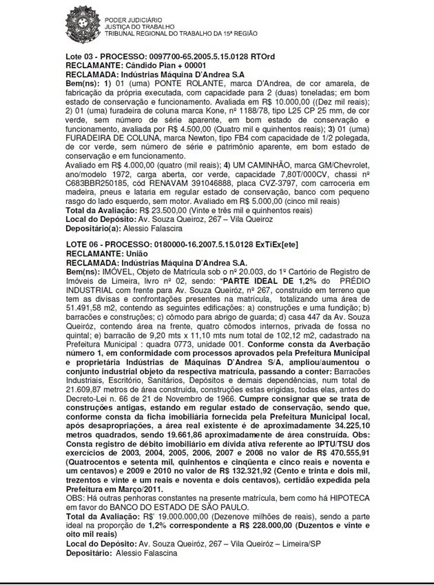 En marzo y abril del 2012, el juez Josué Cecato ya dispuso el remate de maquinarias y el inmueble principal de D'Andréa. La subasta se consumó dos años después. | Foto Sol de Pando