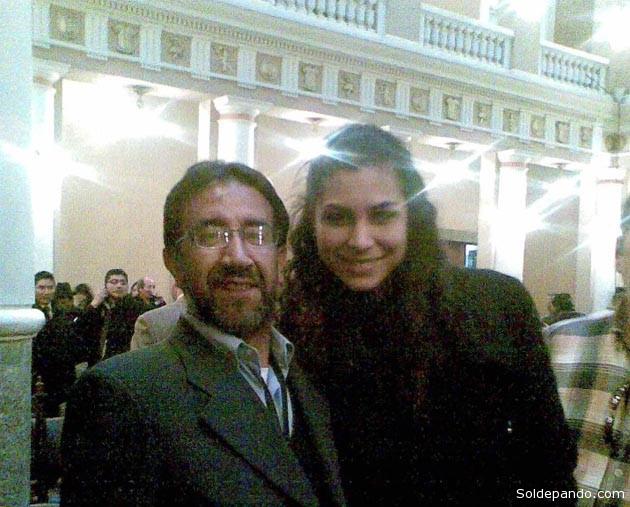 Torrico en el Palacio de Gobierno junto a la actual cónsul en Nueva York Jessica Jordan, el 26 de octubre del 2011.   Foto Archivo