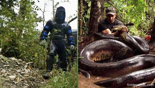 El traje que usó el aventurero televisivo y la anaconda recientemente cazada para ser obligada a devorarlo. | Fotomontaje Sol de Pando