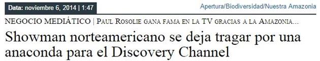 Showman norteamericano se deja tragar por una anaconda para el Discovery Channel