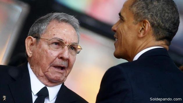 El encuentro entre Castro y Obama durante los funerales de Mandela, el 10 de diciembre del 2013, fue premonitorio.   Foto Reuters