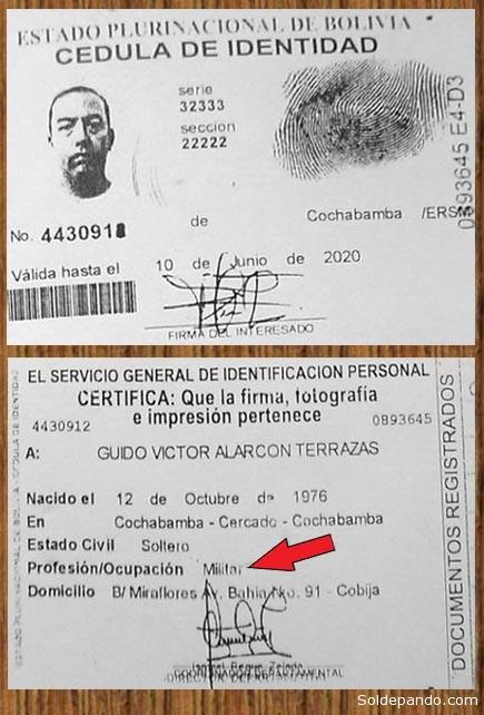 La cédula de identidad de Guido Alarcón. Nacido en Cochabamba el 12 de octubre de 1976, profesiòn militar y domiciliado en el barrio Miraflores de Cobija. | Foto cortesía John Arandia, Cadena A