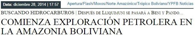 COMIENZA EXPLORACION PETROLERA EN LA AMAZONIA BOLIVIANA
