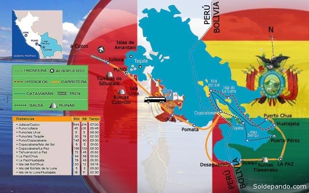 Entre los desafíos de la Comisión Mixta Permanente Boliviano - Peruana de Reposición y Densificación de Hitos en la Frontera Común (Comiperdh) figura la demarcación del lago Titicaca, cuyo proceso de señalización desde 1932 aún no ha concluido.   Ilustración Sol de Pando
