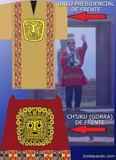"""EL ATUENDO RITUAL DEL 2015 ©Erbol La indumentaria que usará Evo Morales, para la ceremonia originaria de investidura que se realizará el 21 de enero en Tiwanacu, tiene tres piezas de oro y vale al menos 20.700 bolivianos, informó Jorge Miranda, miembro del equipo de trabajo que produjo las prendas. Miranda explicó que el tejido costó 10 mil bolivianos; una pieza de oro para la cabeza, 6 mil; una pechera hecha de una aleación con el mismo mineral, 4 mil; y la confección costó 700, haciendo un total de 20.700 bolivianos. Además, uno de los cetros que usará el Primer Mandatario también está hecho de oro. Un documento entregado por el equipo que produjo la vestimenta señala que el traje de Morales está compuesto por: El chu´ku: Es una gorra en cuyo centro tiene """"una pieza de oro, en el que destaca el rostro del personaje central de la Puerta del Sol"""". El unku: Es una prenda para cubrir el cuerpo, hecha de lana de vicuña, con un pectoral de oro al medio. Los pantalones: De la elaboración de esta prenda -según Miranda- está encargada la Presidencia. El wiskhu ushuta: Es una sandalia hecha de cuero de llama, que """"recoge la memoria de nuestros antiguos cazadores de llamas, pastores, agricultores, artesanos, constructores de pueblos, arquitectos, políticos, guerreros y religiosos que recorrieron el Thaki (camino) de nuestra sociedad"""", señala el texto del documento. Los cetros: El principal está hecho con oro del norte de La Paz. Miranda destacó que el trabajo de orfebrería y de elaboración de las sandalias se realiza en El Alto. Asimismo, reveló que el sastre Manuel Sillerico está encargado de la confección. El artista, Dennis Ramos, aseveró que tardó dos semanas el diseño, la digitalización y la elaboración del traje que usará el Primer Mandatario."""