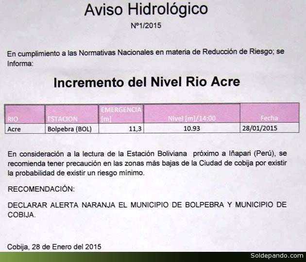 Aviso Hidrologico