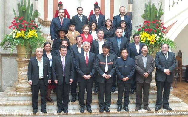 El nuevo gabinete con que empieza el tercer mandato de Evo Morales y García Linera. | Foto Oficial | Erbol