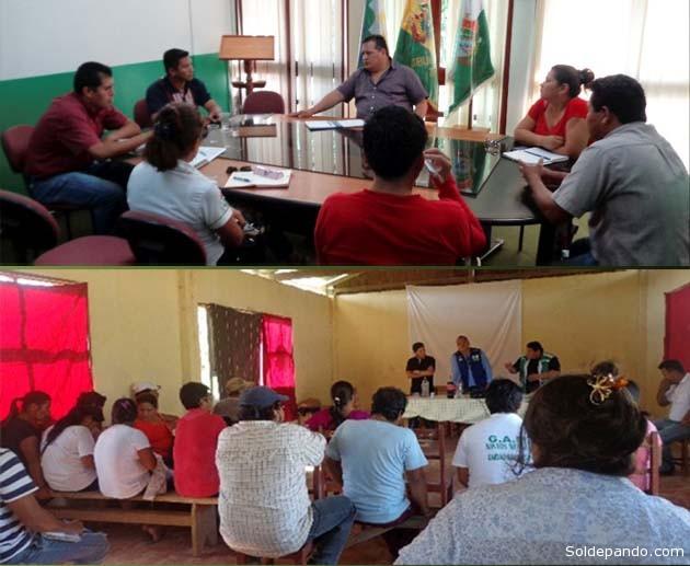 Equipos técnicos y jurídicos de la Gobernación de Pando y especialistas del Ministerio de Autonomías reunidos en Cobija el pasado 16 de diciembre para diseñar y poner en marcha la Dependencia Técnica de Límites. | Foto ANA