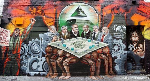 Mural-grafitti de Kalen Ockerman, alusivo al Nuevo Orden Mundial, pintado sobre una pared de la calle Hanbury, Londres, en septiembre del 2012. El mural fue borrado  a los pocos días.   Foto Archivo