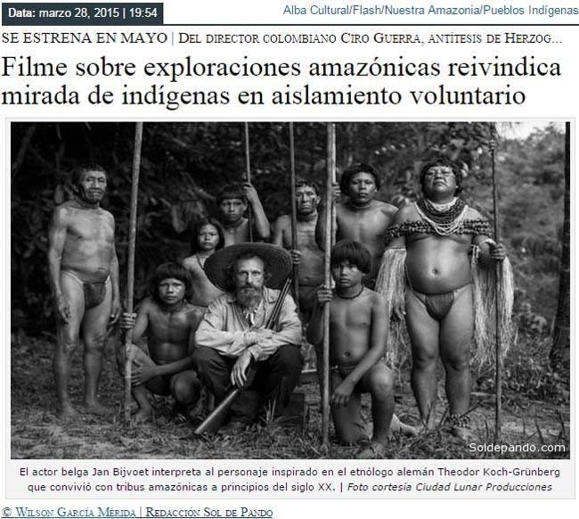 Filme sobre exploraciones amazonicas reivindica mirada de indigenas en aislamiento voluntario