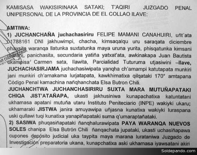 Primera sentencia judicial en lengua indígena dictada por un juez indígena del Perú.   Foto elpais.com