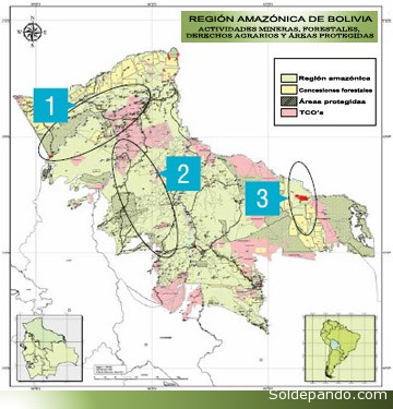 Los círculos en el mapa marcan las cuencas y regiones, donde se combinan operaciones mineras legales e ilegales en la Amazonia de Bolivia. |Foto cortesía Spda